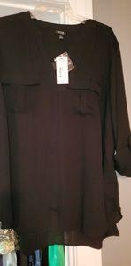 Black 1X A.N.A. Button Front Pocket Blouse